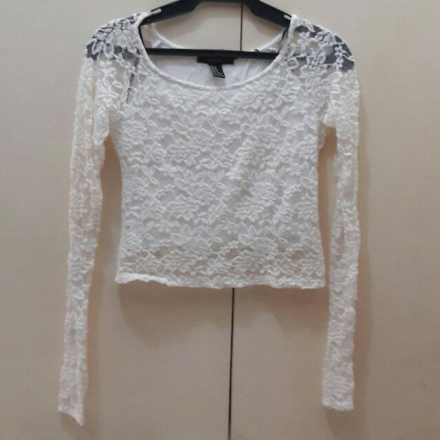 Forever 21 Lace Long Sleeves Crop Top