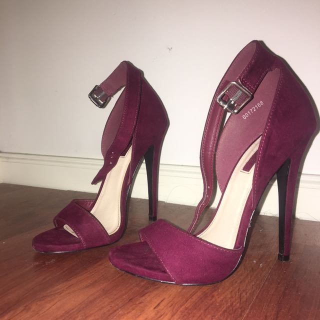 Forever 21 Strappy Burgundy Heels