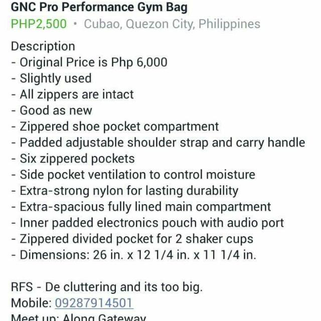 Gnc Gym Bag