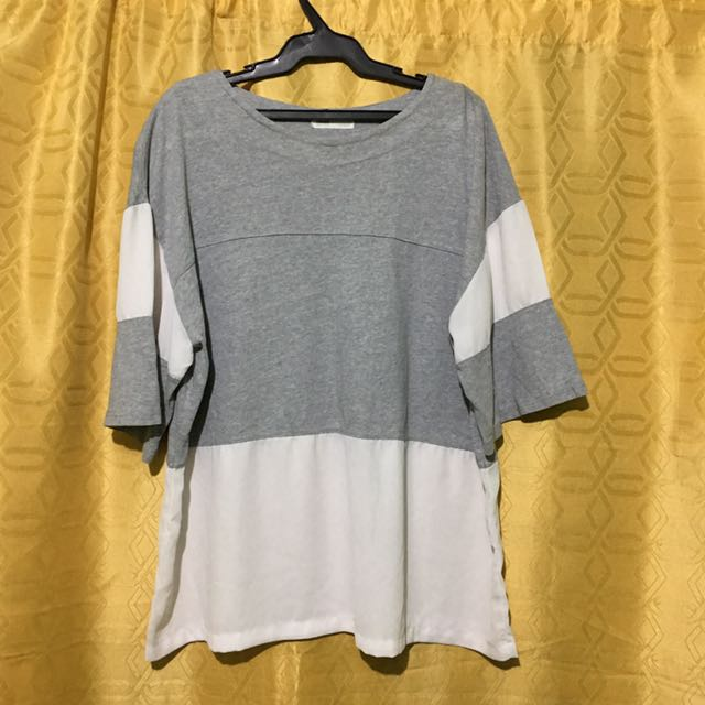 Grey Top With Mesh Design