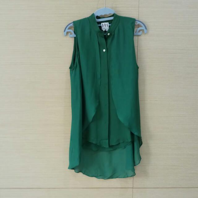 Haute Hippie 翡翠綠100%真絲 長襯衫 xs號