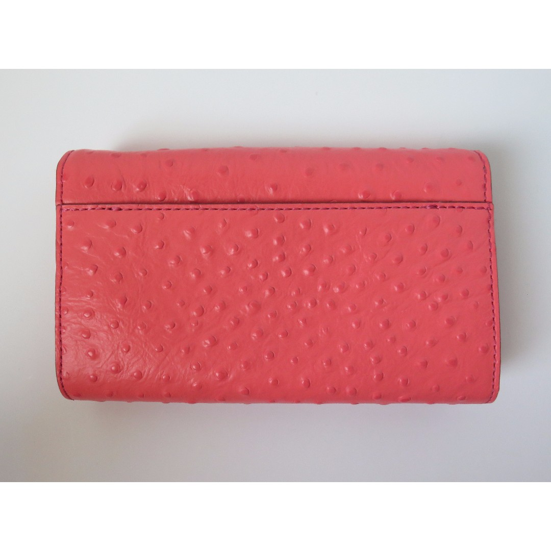 Kate Spade Coral Pink Ostritch Embossed Crossbody Bag