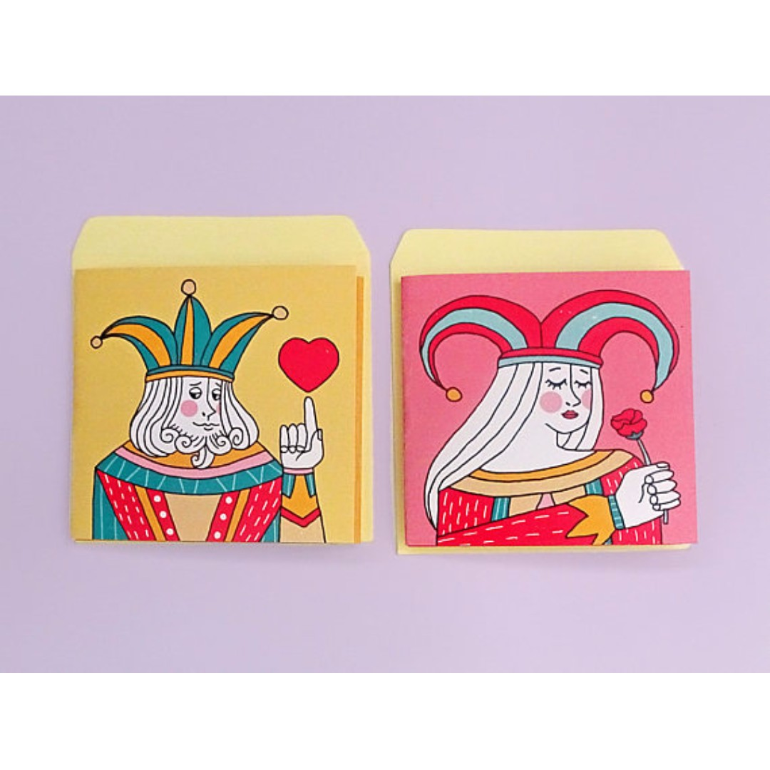 King And Queen Love Cards Set 3x3 Tri Folded Card Envelope