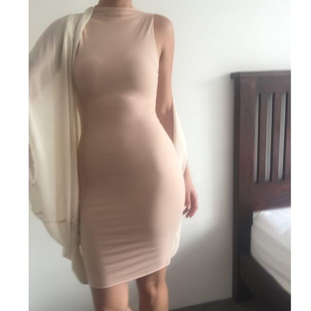 Kookai Nude Dress Cut Out Size 2
