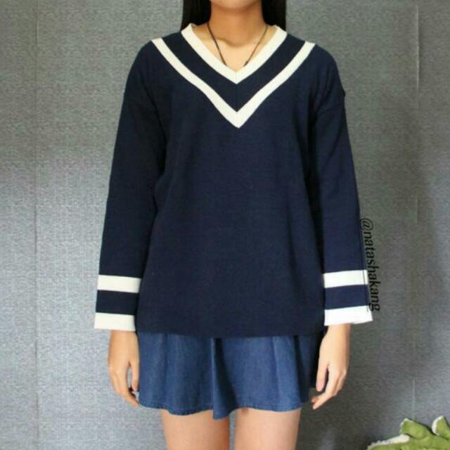Korean Navy Sweater V Neck
