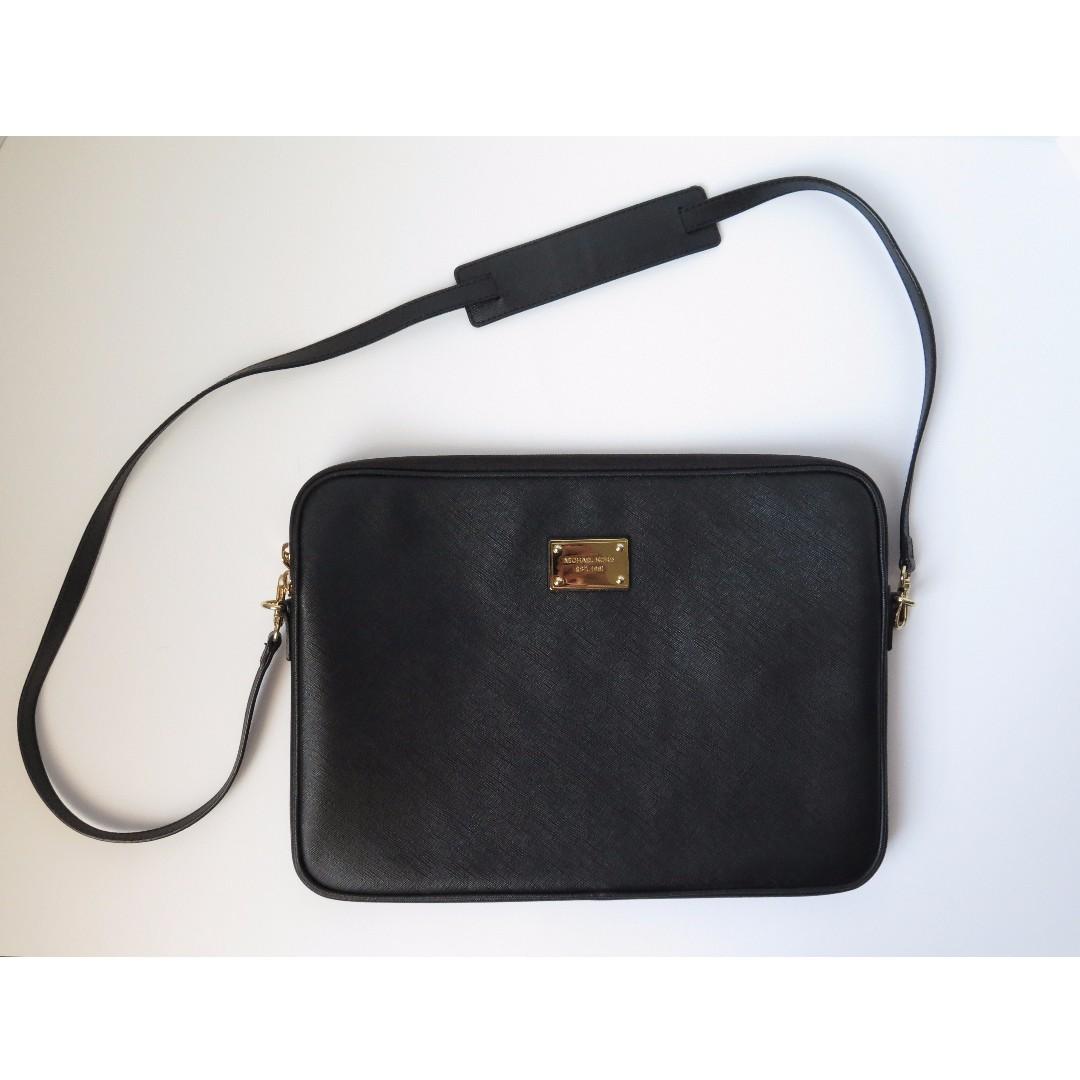 "Michael Kors Black 13"" Laptop Sleeve Bag W/ Long Strap"