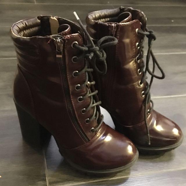 Patent Heel Boots