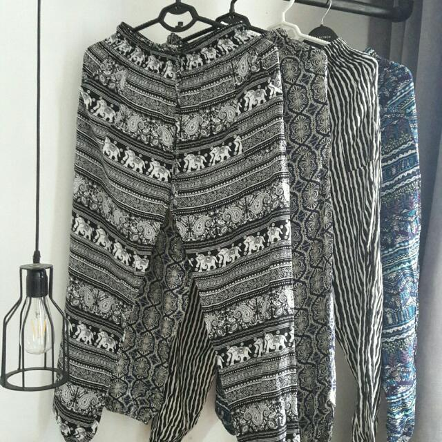 Patterned Loose Pants