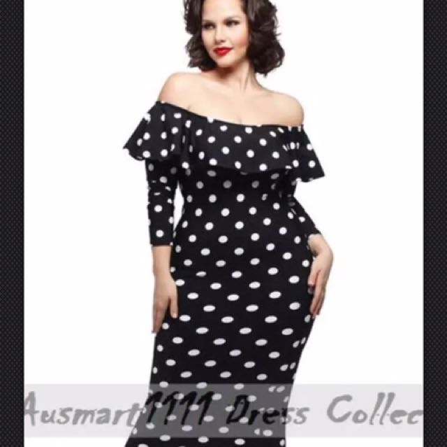 Plus Size Pinup Dress Polka Dot Off Shoulder, Women\'s ...