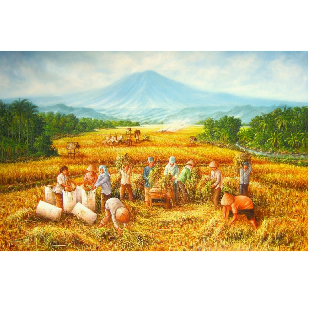 Repro Painting Feng Shui Lukisan Panen Ricefield Harvest