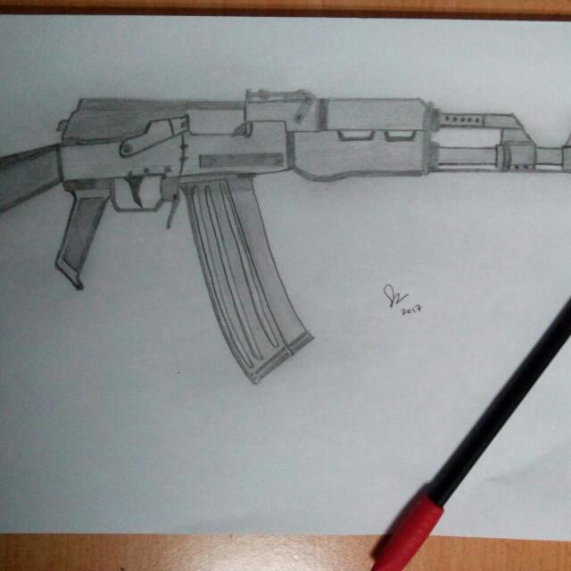 Selling Ak 47 Pencil Sketching Pair With Computer Touch Image Of