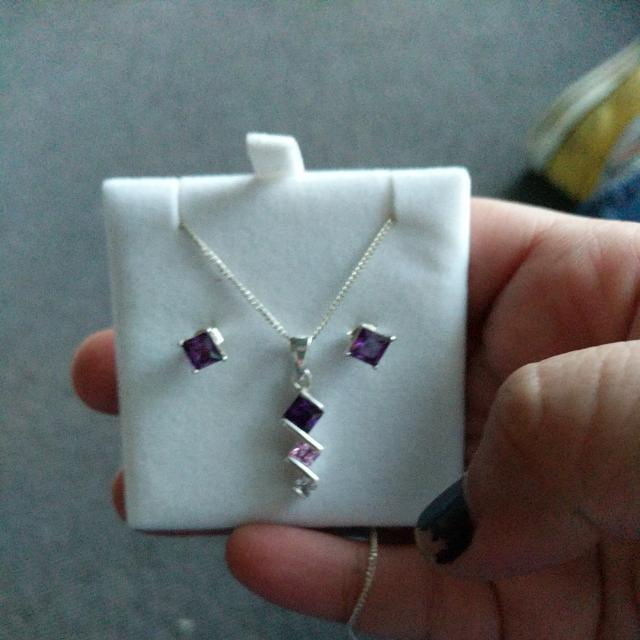 Silver Necklace With Zirconia Stones And A Pair Of Earrings