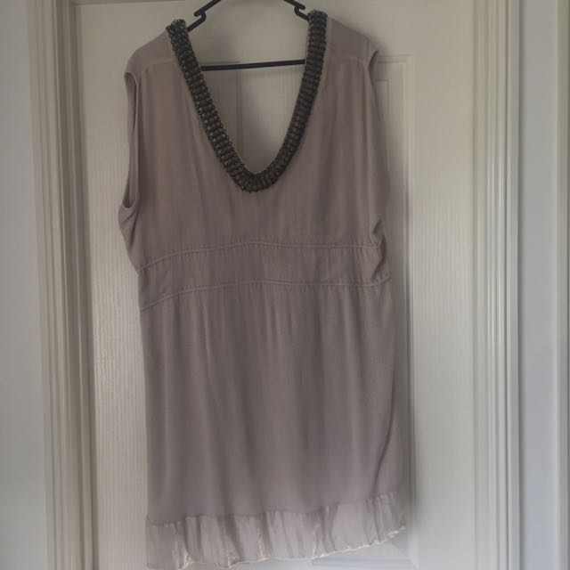 SZ12-14 Nude Top/ Dress With Metal Link Detailing