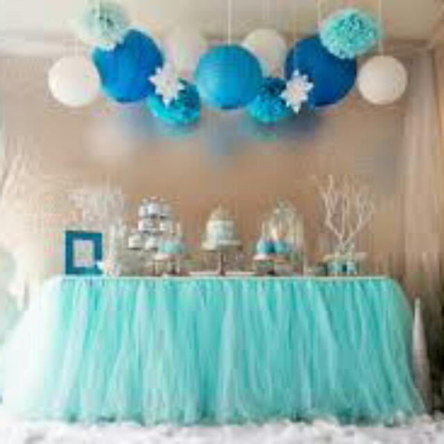 Fantastic Tiffany Blue Tutu Table Skirting Dessert Table Birthday Party Funny Birthday Cards Online Alyptdamsfinfo