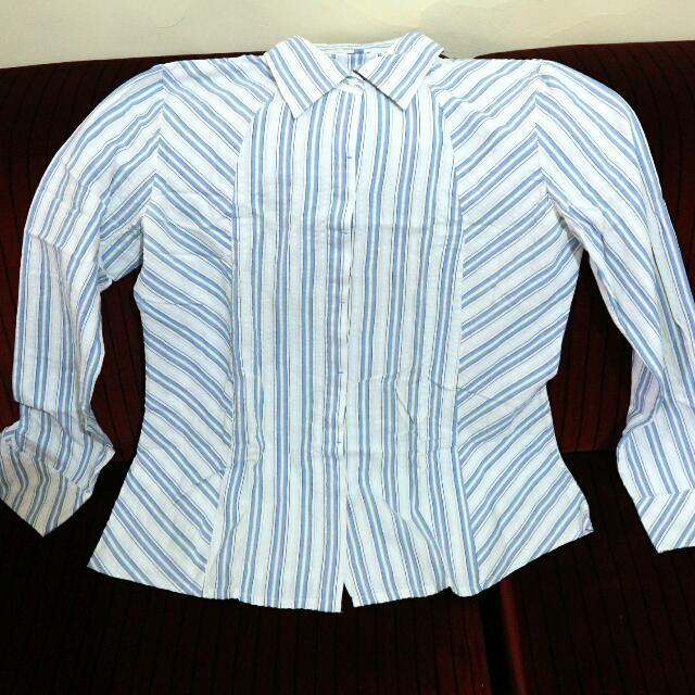 [Valino Donna] Kemeja Formal Stripes Biru