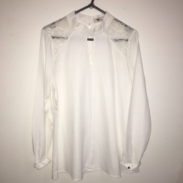 White Embroided Cut Out Shirt