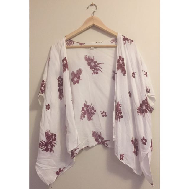 White Light Cardigan With Purple Flower Pattern