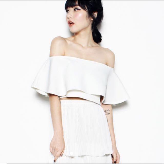 YHF - Fark Off Shoulder Top In White