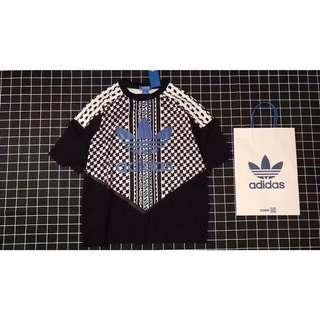 Adidas originals愛迪達 黑白千鳥格網紗雪紡短版上衣