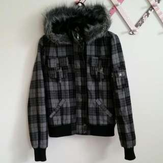 Checkered Jacket With Detachable Hoodie