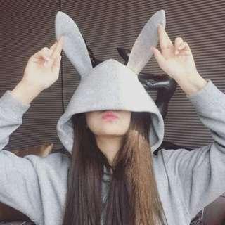 grey rabbit ears hoodie