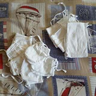 SM Baby Co set of 6 pairs of plain white mittens, set of 3 plain white bigkis and set of 3 pairs of white socks (Newborn size 0-3mos)