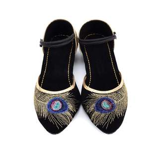 Boho Chic Inspired Peacock Ethnic Shoes For Women