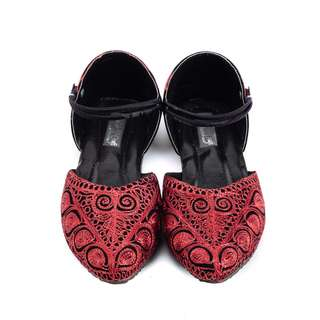 Boldly Red and Black Embroidered Ethnic Shoes For Women