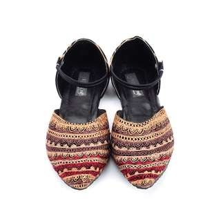 Brown and Red Embroidered Ethnic Shoes For Women