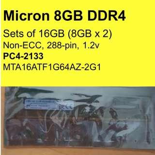 (2x 8GB) Micron 16GB DDR4 2133MHz Non-ECC Rams