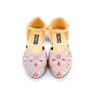 Flowy Gorgeous Beige Floral Ethnic Shoes For Women