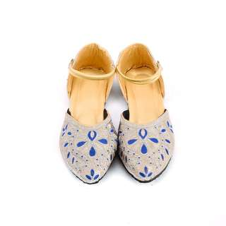 Silver and Blue Floral Threadwork Ethnic Shoes For Women