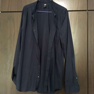 H&M Navy Blue Round Collar Shirt