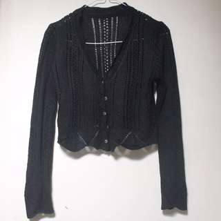 cropped black knitted cardigan