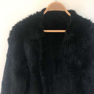 Rabbit Fur Black Coat