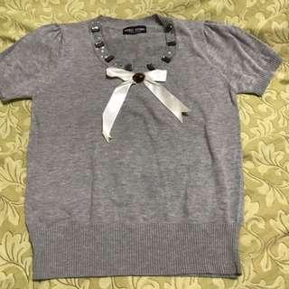 「全新」貼鑽灰色棉質上衣
