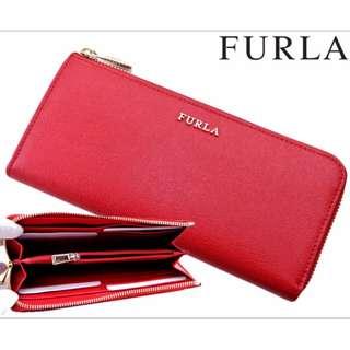 🚚 ((保證正品)) 義大利 FURLA Babylon Zip Around 皮夾 長夾 短夾 紅色 新款