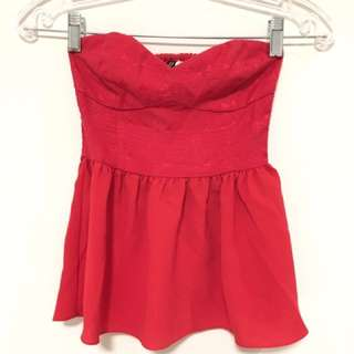 H&M Red Strapless Peplum Top (xxs)