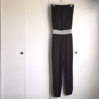 Size S Black Soft Tube Top With Silver Waist Drapey Stretchy Jumpsuit