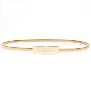 Size S-M Gold Minimal Stretchy Metal Skinny Belt With Square Buckle Metallic Mirror Plated