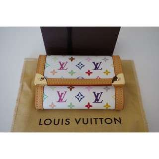 Authentic Louis Vuitton Multicolore Porte Monnaie Plat Coin Purse White