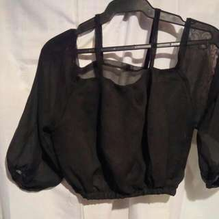 SALE Off Shoulder With Strap- BLACK