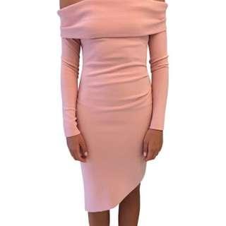 Bec & Bridge Montana Dress Size 8 Off The Shoulder Pale Pink