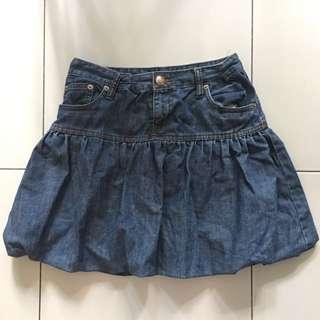 Puffy Denim Skirt