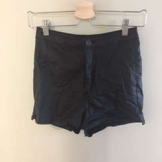 Leather Look High Waisted Shorts
