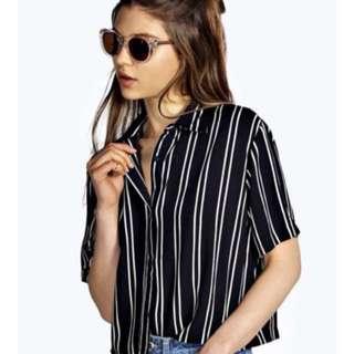 Striped Shirt, Navy, Size 14