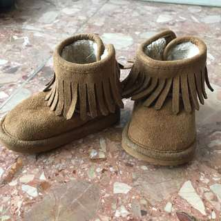 H&M咖啡色流蘇刷毛童鞋