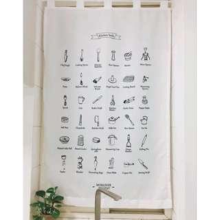 我的廚房。歐式鄉村印刷門簾 棉麻風水簾 窗簾 廚房防西曬 微遮光 書櫃裝飾 臥室隱私必備 浴室 洗手間 茶水間。沒有沒人