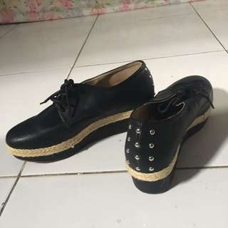 (NEW HANDMADE SHOES) BLACK SHOES