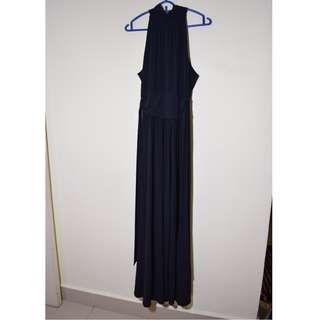 Black Long Halter Gown Stretchable Sash